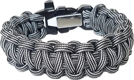 ParaOne- Paracord Bracelet Premium Survival Bracelet With Firestarter Buckle, Whistle, Mirror, Snare Wire, Fire Tinder, Fishing Line Made In The USA