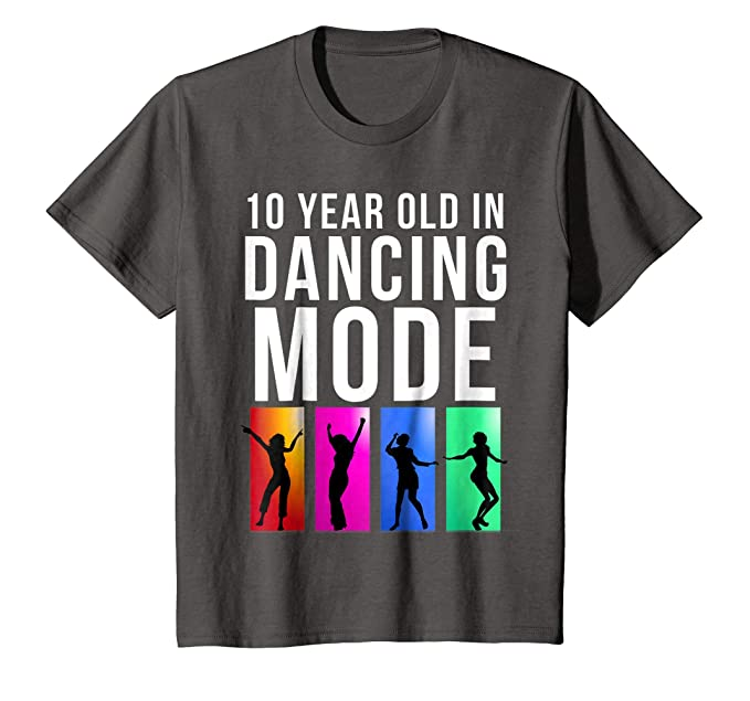 Kids 10th Birthday Gift For 10 Year Old In Dancing Mode T Shirt 4 Asphalt