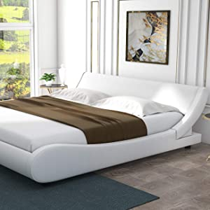 Amolife Modern Full Platform Bed Frame with Adjustable Headboard,Mattress Foundation Deluxe Solid Faux Leather Bed Frame with Wood Slat Support (White, Full)