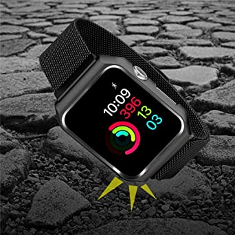 XBKPLO Compatible for Apple Watch Series 4 Band 44mm Stainless Steel Magnetic Button Replacement Watch Strap Series Cuff Bracelet