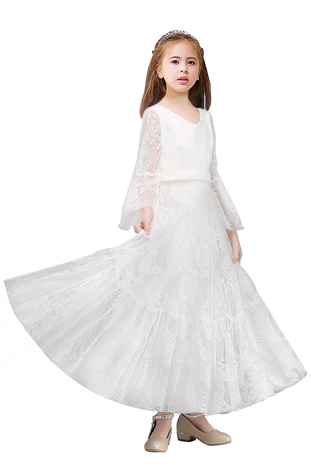 ae410e5e88 Amazon.com  Babyonlinedress Flare sleeve Floral lace Little Girl s Wedding  party dress  Clothing