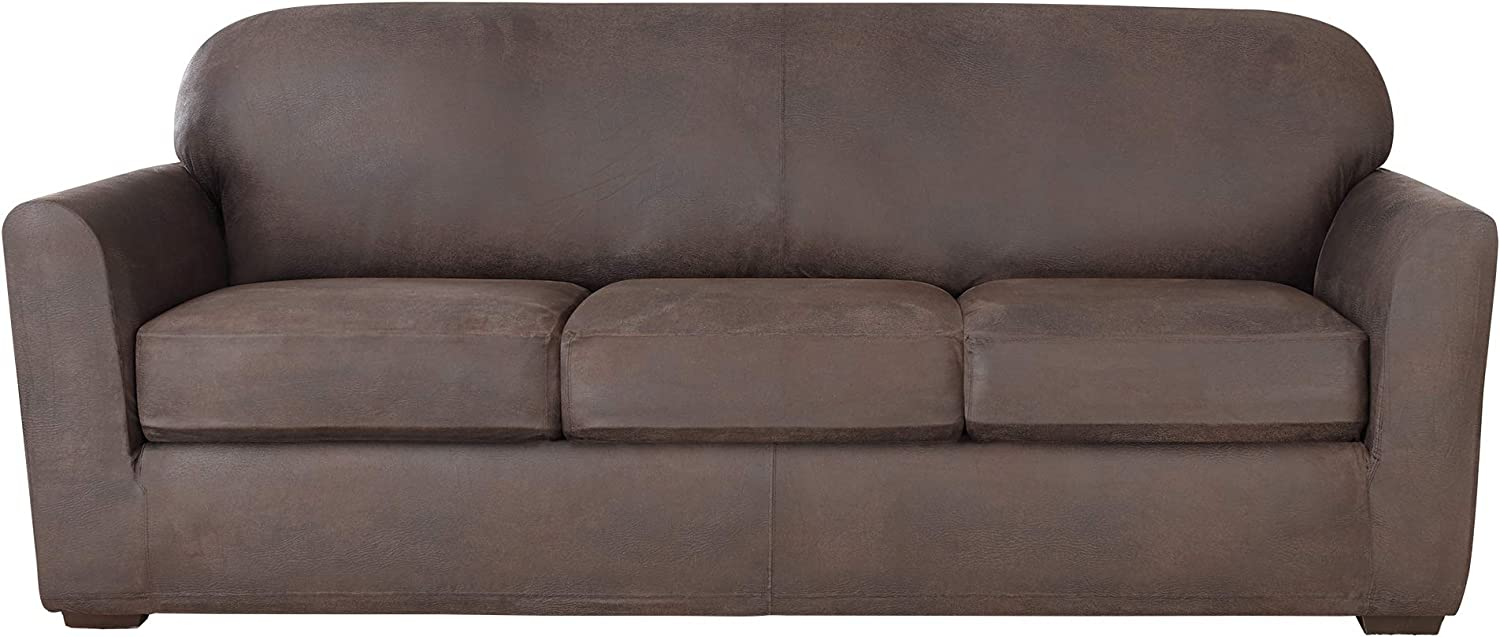 Sure Fit Home Décor Ultimate Stretch Leather Individual Cushion Sofa Four Piece Slipcover