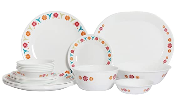 Corelle India Impressions Sunshine Dinner Set, 21-Pieces Dinnerware Sets at amazon