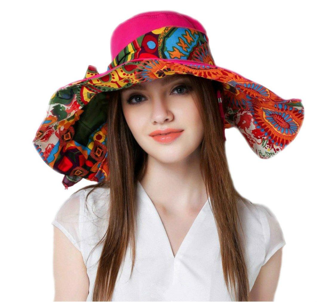 iHomey Packable Lightweight Cotton Flora Hat, Reversible Shapeable Extra Big Brim Floppy Sun Hat UPF 50+ Sun Protection Travel Beach Bucket Hat