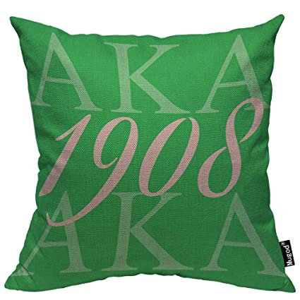 Mugod AKA 1908 Throw Pillow Also Known As Abbreviation Hip Hop Style Pink Green White Cotton Linen Square Cushion Cover Standard Pillowcase 18x18 Inch ...
