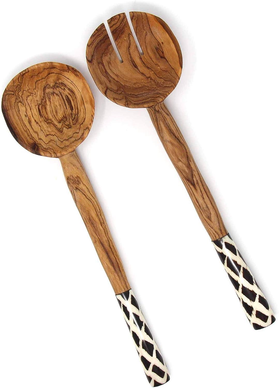 Global Crafts 11-Inch Olive Wood Salad Serving Set