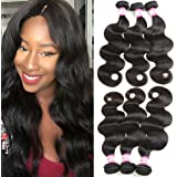 B&P Hair Brazilian Body Wave Virgin Hair 3 Bundles, 7A 100% Unprocessed Brazilian Remy Human Hair Weave Extensions Natural Black Color 20 22 24inches Full Head