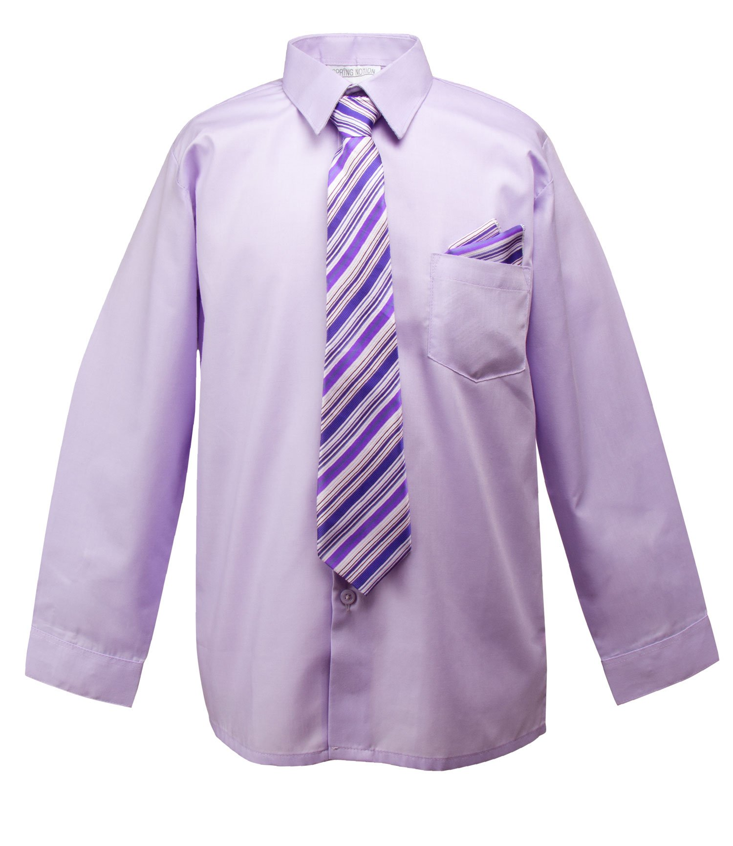 Spring Notion Little Boys' Dress Shirt with Tie and Handkerchief Set 4T Lilac