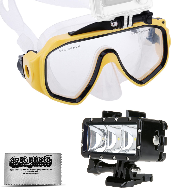 Opteka ゴーグル スキューバダイビングマスク + 防水LEDフラッシュライト GoPro HERO4 HERO3 HERO2 ブラック シルバー セッション SJ6000 SJ4000 類似のアクションカメラ用   B01KGBKYBC