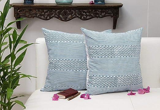 storeindya set de 2 fundas de almohada decorativa cuadrada ...