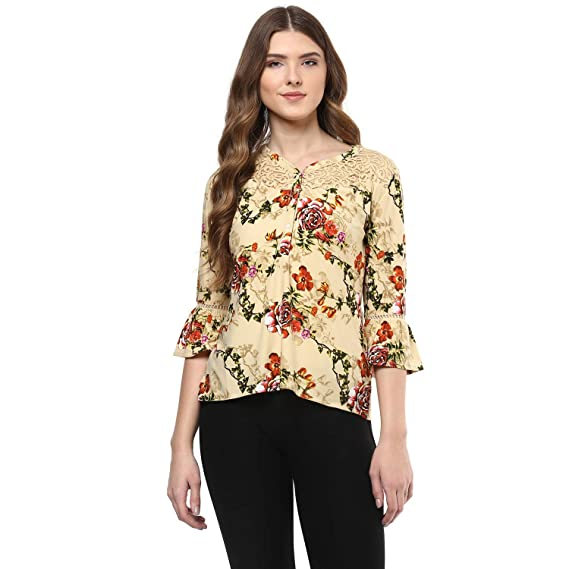9e5a1126179 109 F Women Print Printed Blended Polyester Top Size XL  Amazon.in ...