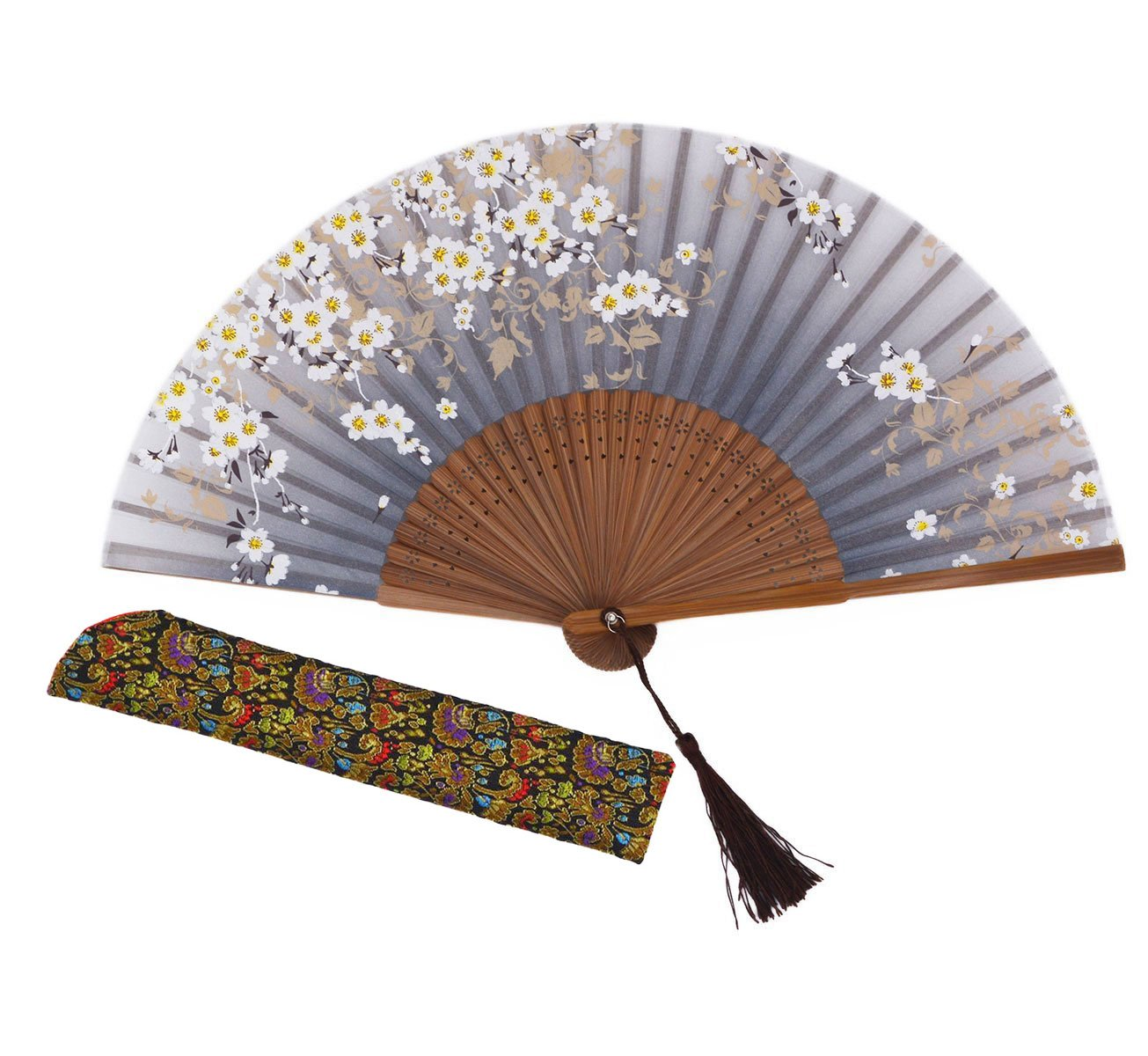 Amajiji Charming Elegant Modern Woman Handmade Bamboo Silk 8.27'' (21cm) Folding Pocket Purse Hand Fan, Collapsible Transparent Holding Painted Fan with Silk Pouches/ Wrapping. (CZT-06)