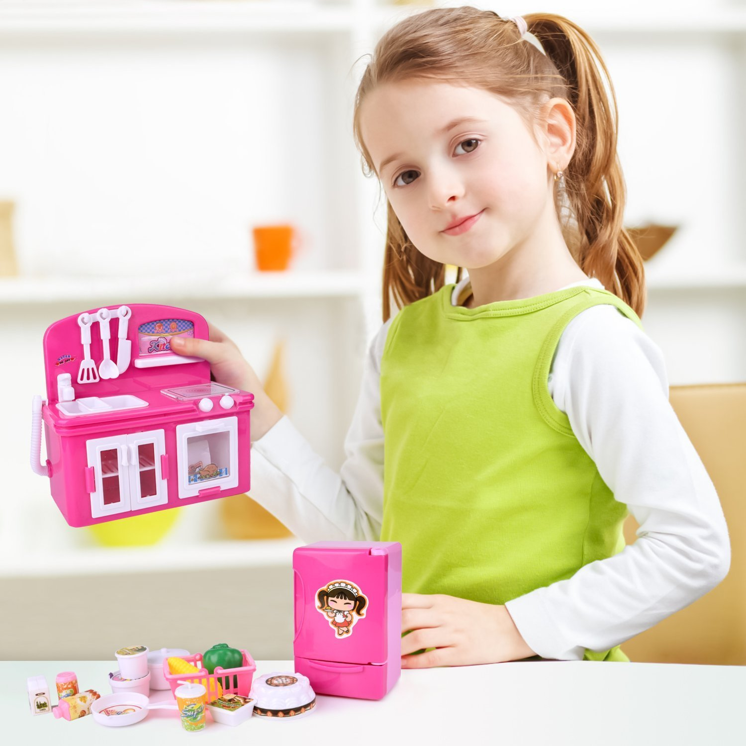 19 PCs Kitchen Appliance Toys with Kitchen, Refrigerator, Pot and Tableware, Pretend Play Set for Kids, Play Kitchen Appliance by FUN LITTLE TOYS (Image #3)