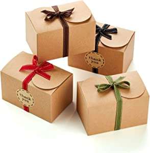 Hayley Cherie - Gift Treat Boxes with Ribbons and Thank You Stickers (20 Pack) - 6.5 x 4 x 4 inches - Thick 400gsm Card - for Goodies, Candy, Parties, Christmas, Birthdays, Weddings (Kraft)