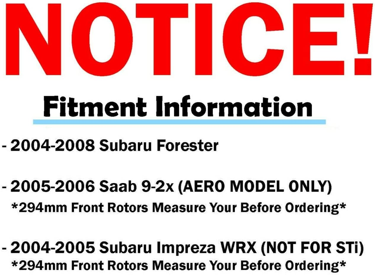 03-06 Subaru Baja Sport - 02-08 Forester - 02-05 Impreza 2 - 02-04 Legacy//Outback Detroit Axle Pair Front Drilled and Slotted Disc Brake Kit Rotors w//Ceramic Pad Kit for 05-06 Saab 9-2X -