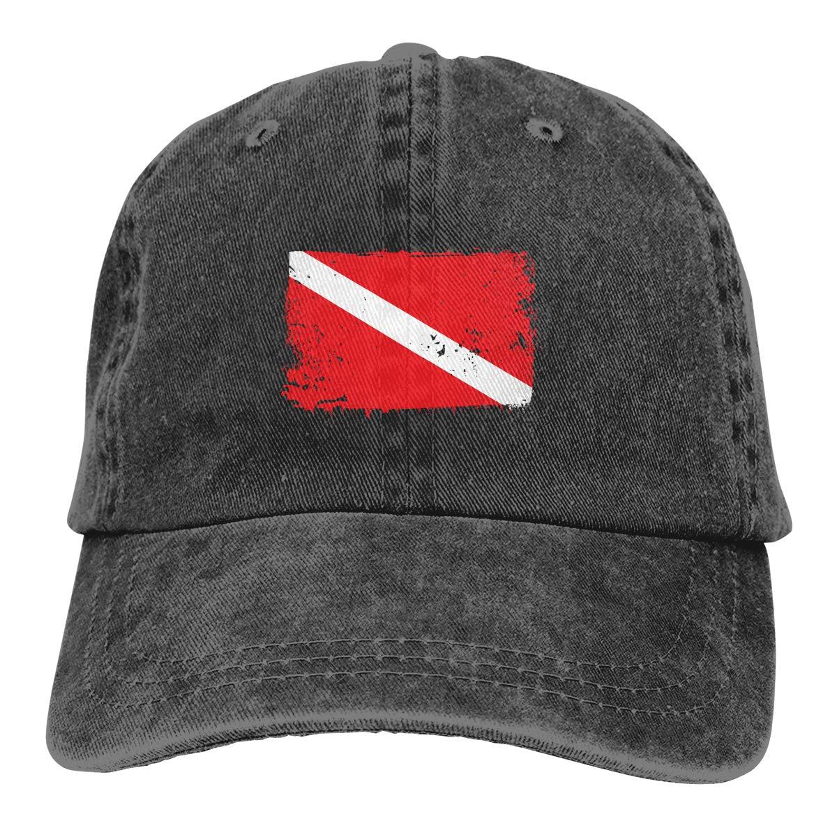 Scuba Diving Dive Flag Unisex Baseball Cap Adjustable Dad Hat Plain Cap