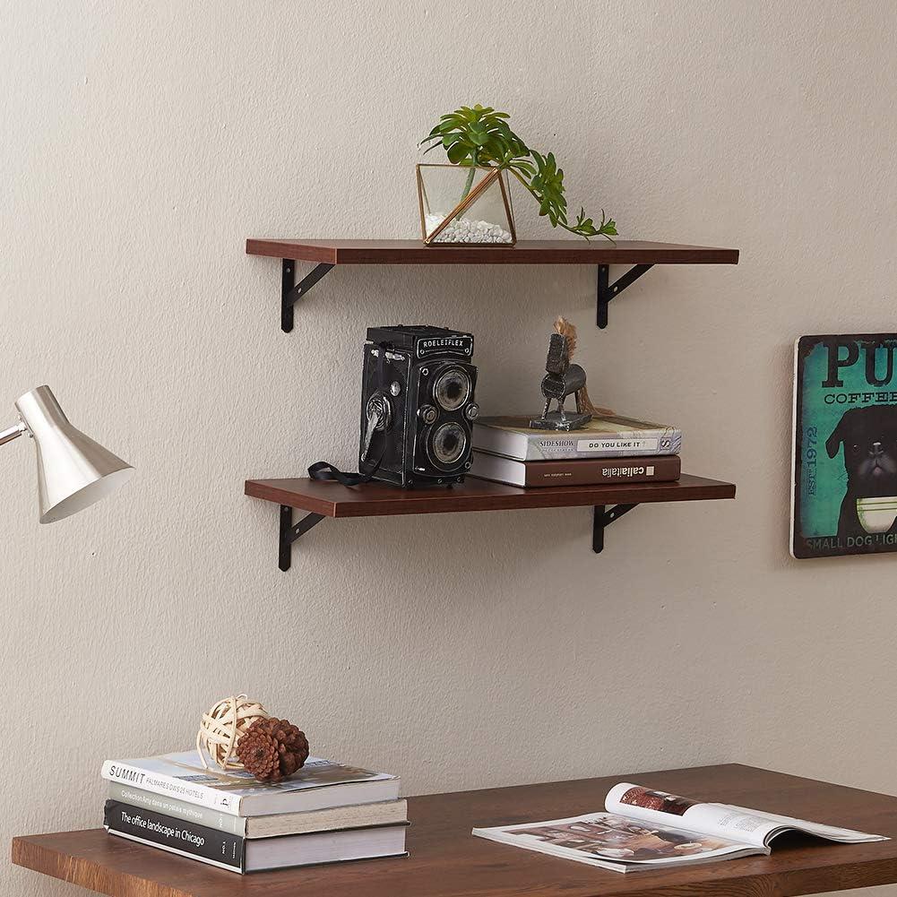 SUPERJARE Wall Mounted Floating Shelves, Set of 2, Display Ledge, Storage Rack for Room/Kitchen/Office - Walnut: Home & Kitchen
