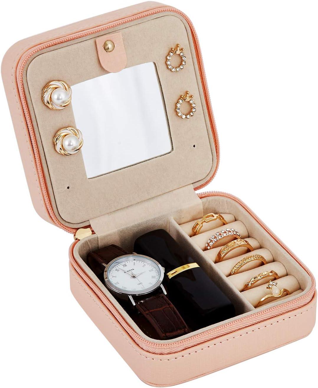 アクセサリーケース 携帯用 ジュエリーボックス ジュエリー収納 鏡付き コンパクト アクセサリー収納 旅行 指輪 ネックレス ピアス 耳飾り プレゼント 可愛い(ピンク)