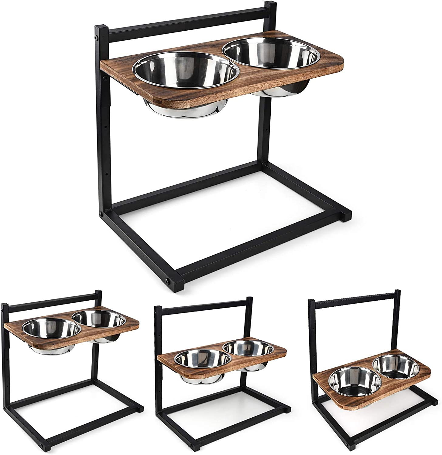 Emfogo Dog Cat Bowls Raised Dog Bowl Stand Feeder Adjustable Elevated 3 Heights5in 9in 13in with Stainless Steel Food and Water Bowls for Small to Large Dogs and Cats 16.5x16 inch