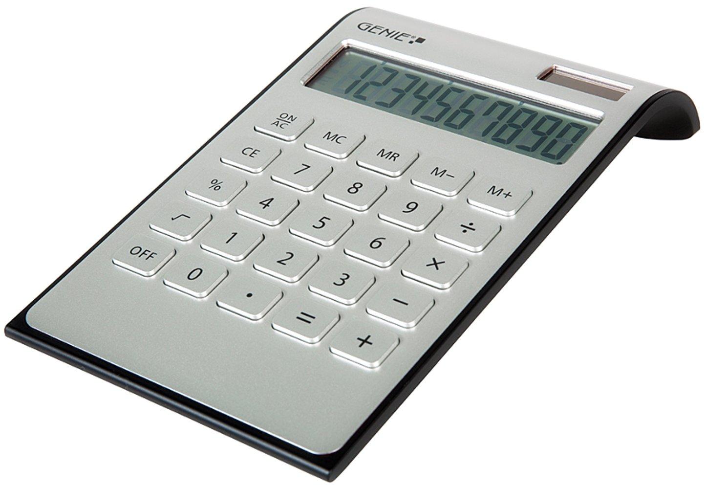Genie DD400 - Calcolatrice a doppia alimentazione, 10 cifre, colore argento 12353