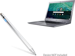 Acer Chromebook 15 (CB315) Stylus Pen, BoxWave [AccuPoint Active Stylus] Electronic Stylus with Ultra Fine Tip for Acer Chromebook 15 (CB315) - Metallic Silver