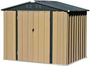 8x6 FT Storage Sheds Outdoor, Utility Steel Tool Sheds for Garden Backyard Lawn, Large Patio House Building with Lockable Door (Dark Grey)