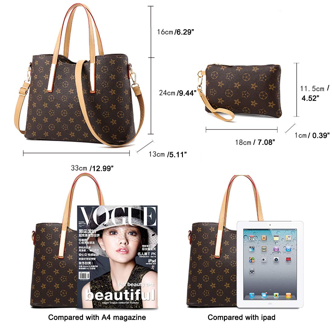 ZUNIYAMAMA Waterproof Scratch Resistant Synthetic Leather Lady Top Handle Handbags Set for Women Purses Shoulder Bag Fashion Tote Bags Casual Daypack by ZUNIYAMAMA (Image #5)