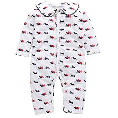 Infant Baby Girls Cute Puppy Dog Print Romper Jumpsuit Cotton Long Sleeve Onesies Clothes