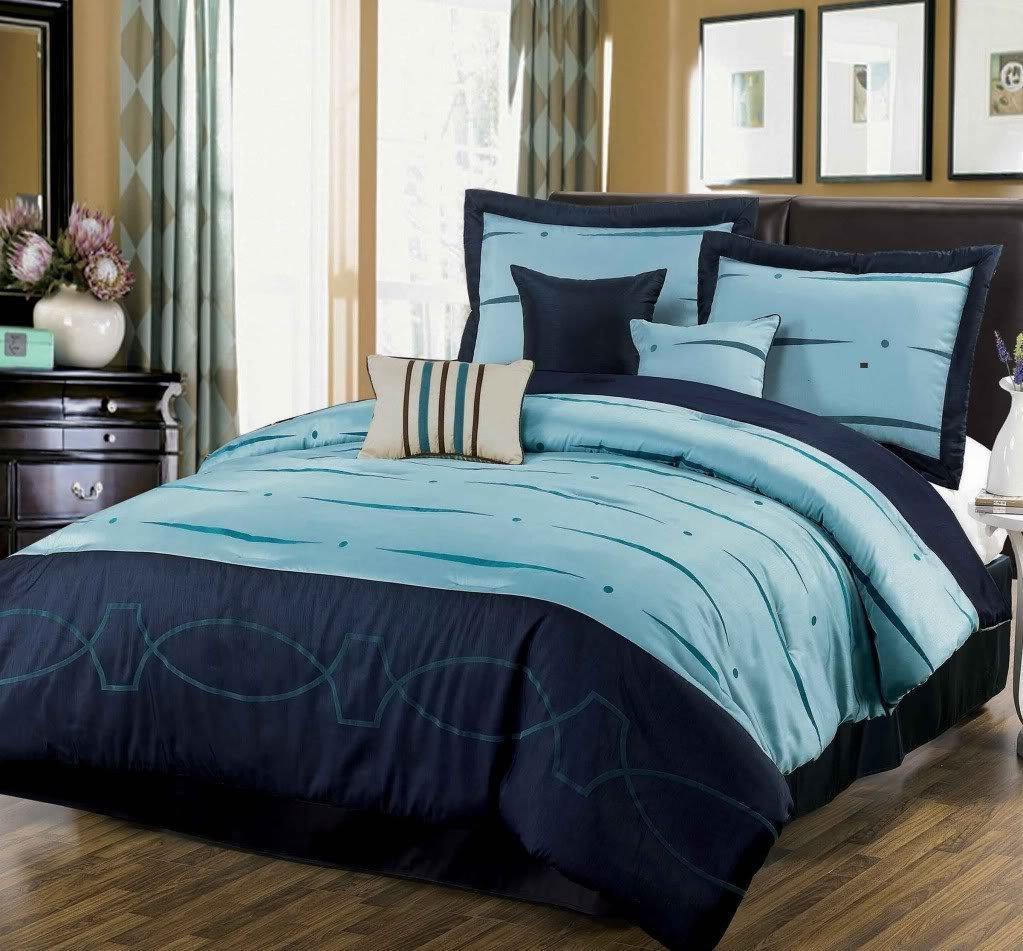 Blue bedspreads and comforters - Dovedote Ocean Wave Geo Link Comforter Set King Navy Blue