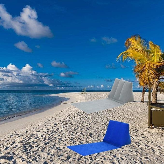 CUTICATE 2 Piezas Inflables Triangular Beach Camping Lounger Volver Almohada Silla Cama