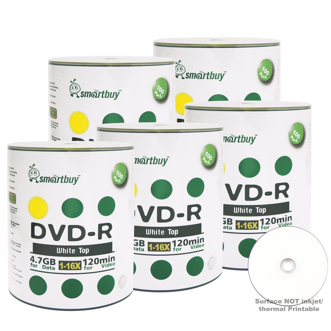 Smartbuy 500-disc 4.7gb/120min 16x DVD-R White Top Blank Data Recordable Media Disc