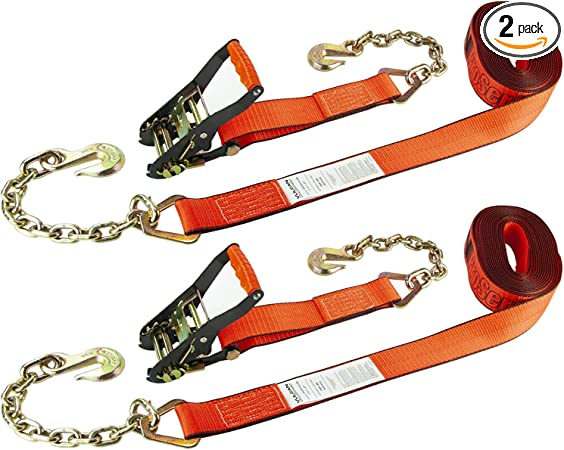 2 Pack Safe Working Load Secure Your Load for Transport On Flatbed Trailers with Heavy Duty Tie Down Straps 3,300 lbs VULCAN PROSeries 2 Inch x 27 Foot Ratchet Strap with Chain Anchors