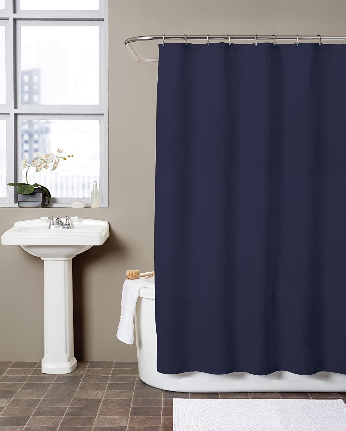dark blue shower curtain. Amazon com  Hermosa Collection Waffle Shower Curtain 72 x Navy Blue Home Kitchen
