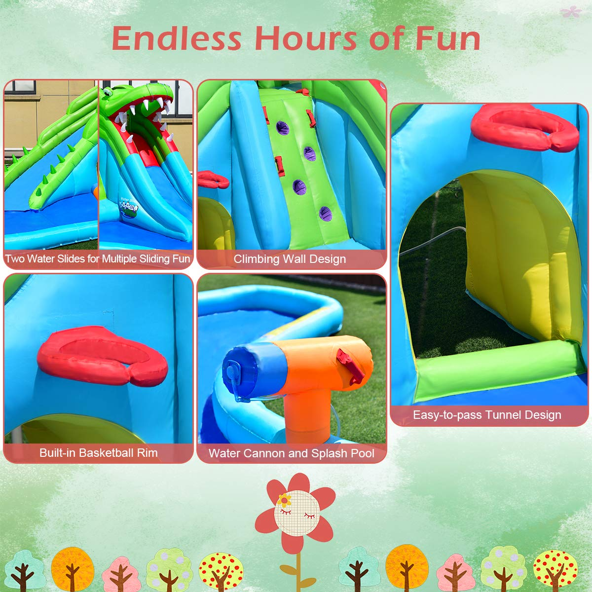 Costzon Inflatable Pool Bouncer, Crocodile Themed Bounce House w/Two Water Slides, Climbing Wall, Basketball Rim, Tunnel, Kids Water Park, Including Carry Bag, Hose, Repair Kit, 780W Air Blower by Costzon (Image #4)