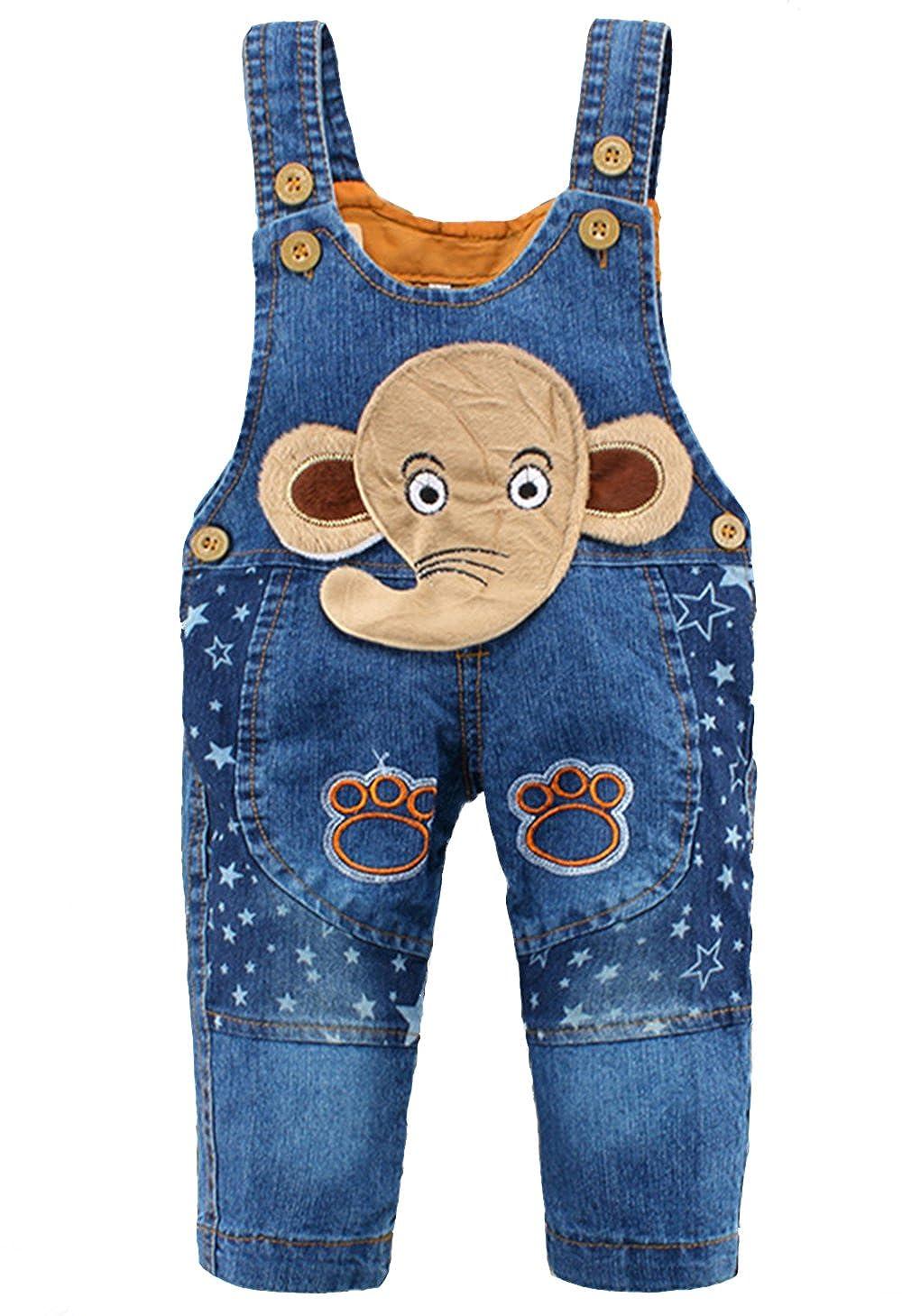 Kidscool Baby Cotton Denim Cute 3D Elephant Star Soft Overalls Blue