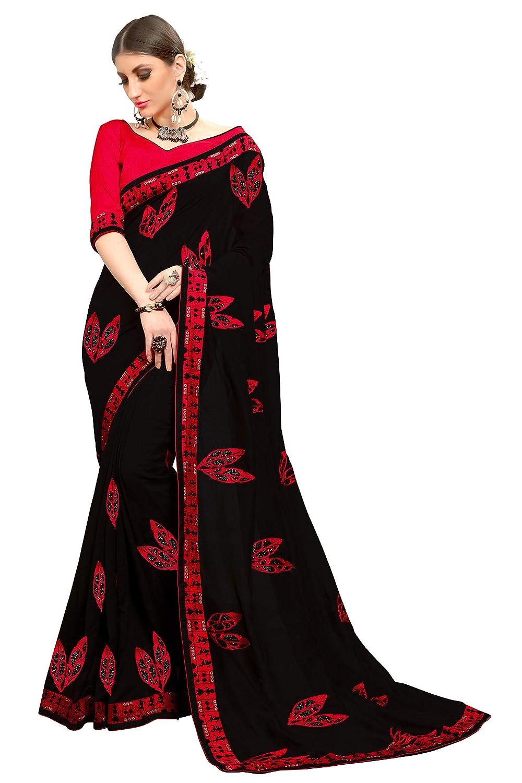 5fc64bc691 Amazon.com: Glory Sarees Women's Kalamkari Embroidery Work Vichitra Silk  Saree Black and Red Free Size: Clothing