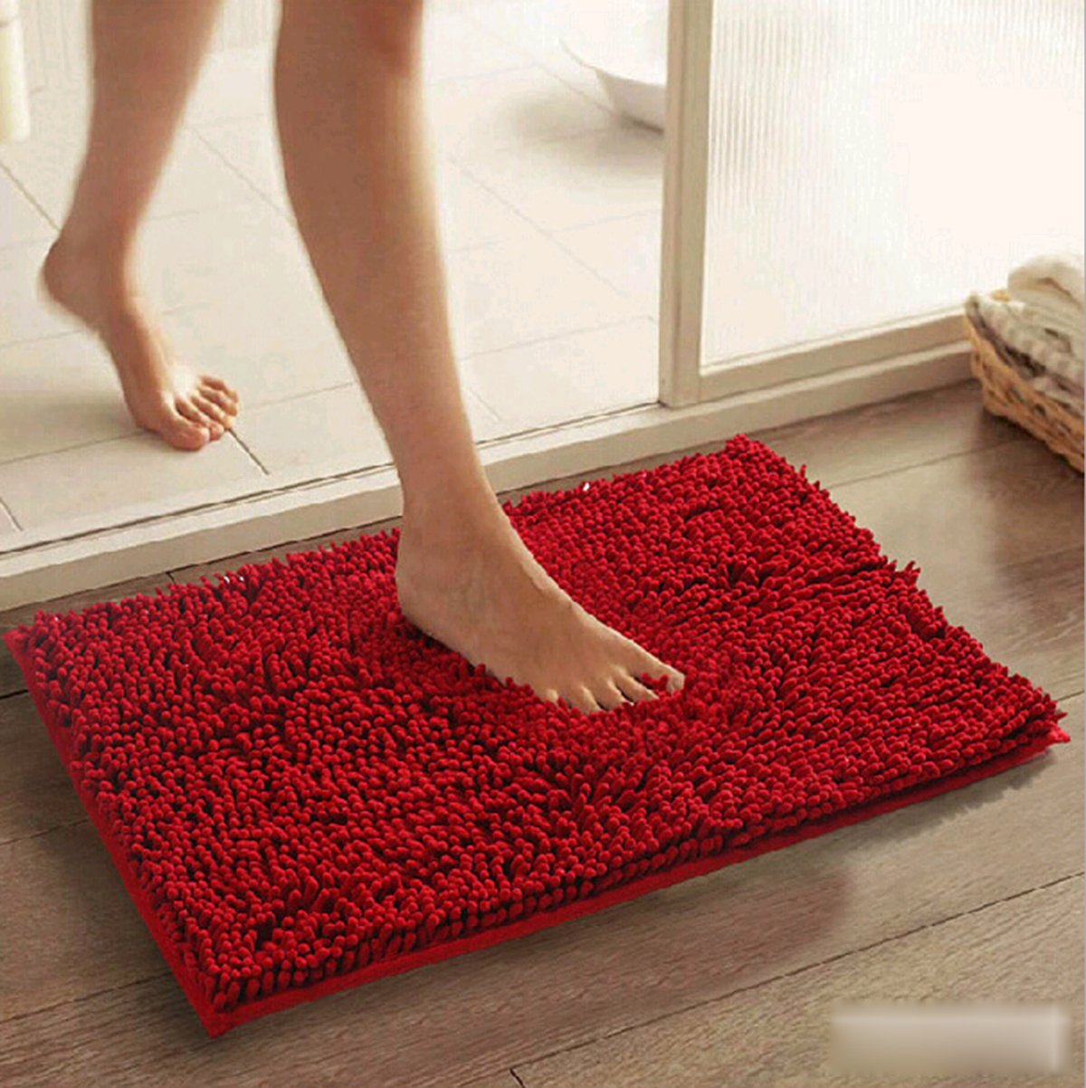 Rainbow Love Square Microfiber Chenille Soft Fluffy Rug Bathroom Bedroom Carpet Non-slip Mat (Red)