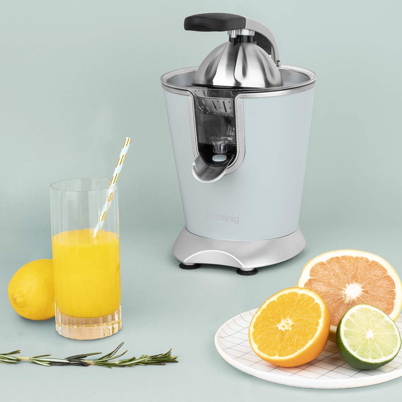 Puissant 160W Automatique Citron Jus Orange Lavable Machine Pamplemouse Silencieux Anti-Gouttes H.Koenig Presse Agrumes Electrique Levier Professionnel INOX Bleu Pastel AGR86 sans BPA Rapide