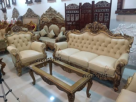 Aarsun Royal 5 Seater Sofa Set Traditionally Hand Carved Couch In Gold And Cream Leatherette Amazon In Home Kitchen