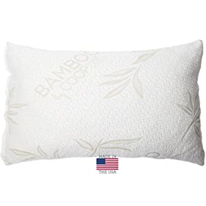 Coop Home Goods Shredded Memory Foam Pillow with Bamboo Cover, Queen