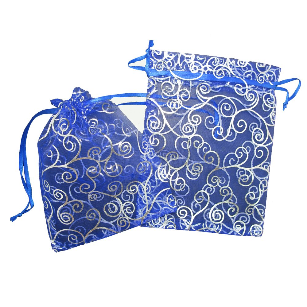 50 Organza Gift Bags (Blue with Silver Details) 7