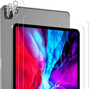[2+2 Pack] SPARIN Screen Protector Compatible with iPad Pro 12.9 Inch with Camera Lens Protector, Tempered Glass/Scratch Resistant/Support Apple Pencil