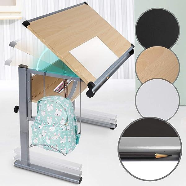 Mesa de Dibujo para Arte y Diseño - con Tablero Reclinable, Altura ...