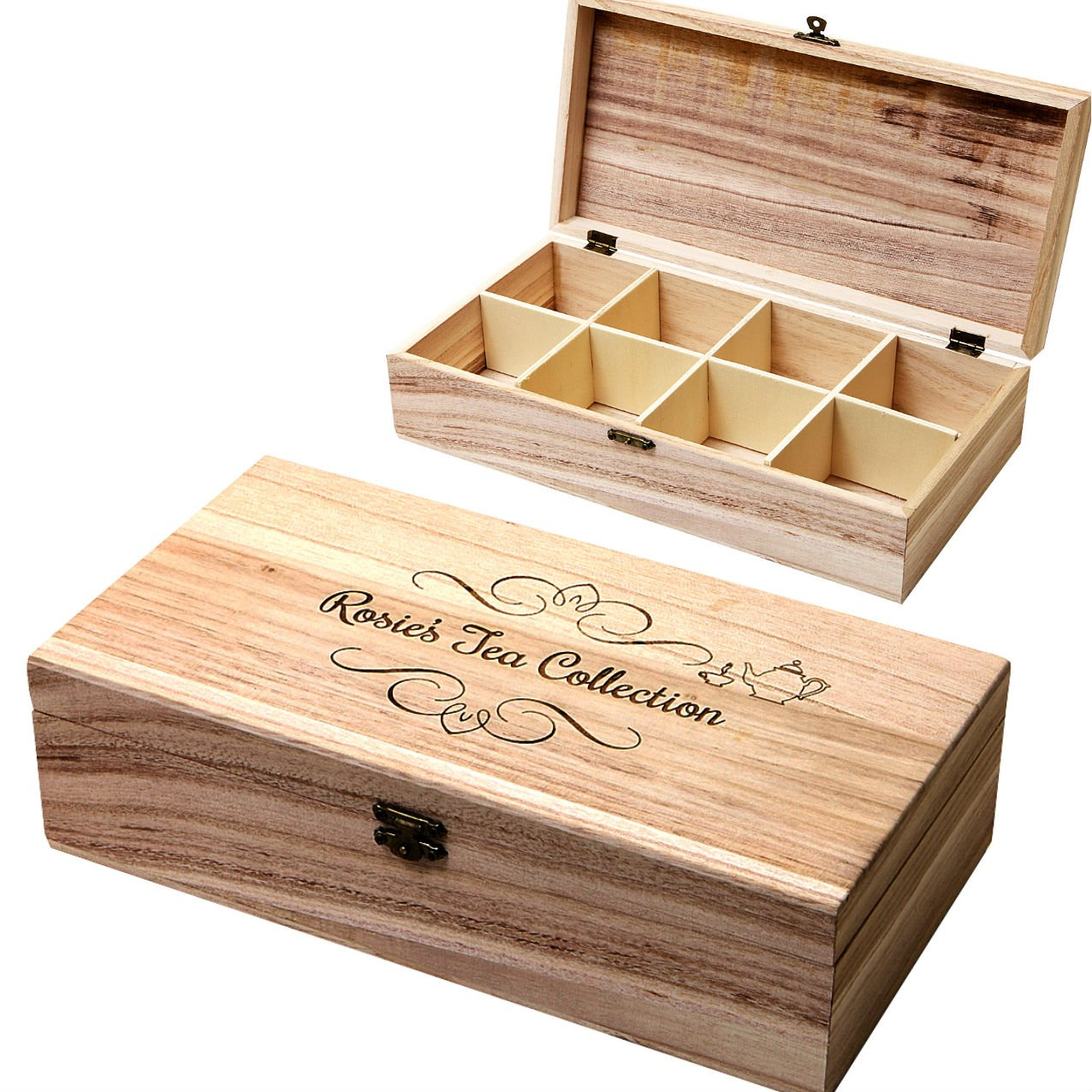 8 Compartment Wooden Tea Chest, Personalised Storage Box With A Name Of  Your Choice: Amazon.co.uk: Kitchen U0026 Home