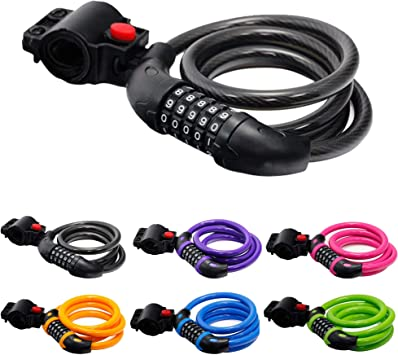Bike Lock Cable 4-Feet Bike Cable Basic Self Coiling Resettable Combination ...