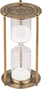 KSMA 30 Minutes Hourglass Sand Timer,Brass-Tone Metal Hour Glass with White Sand