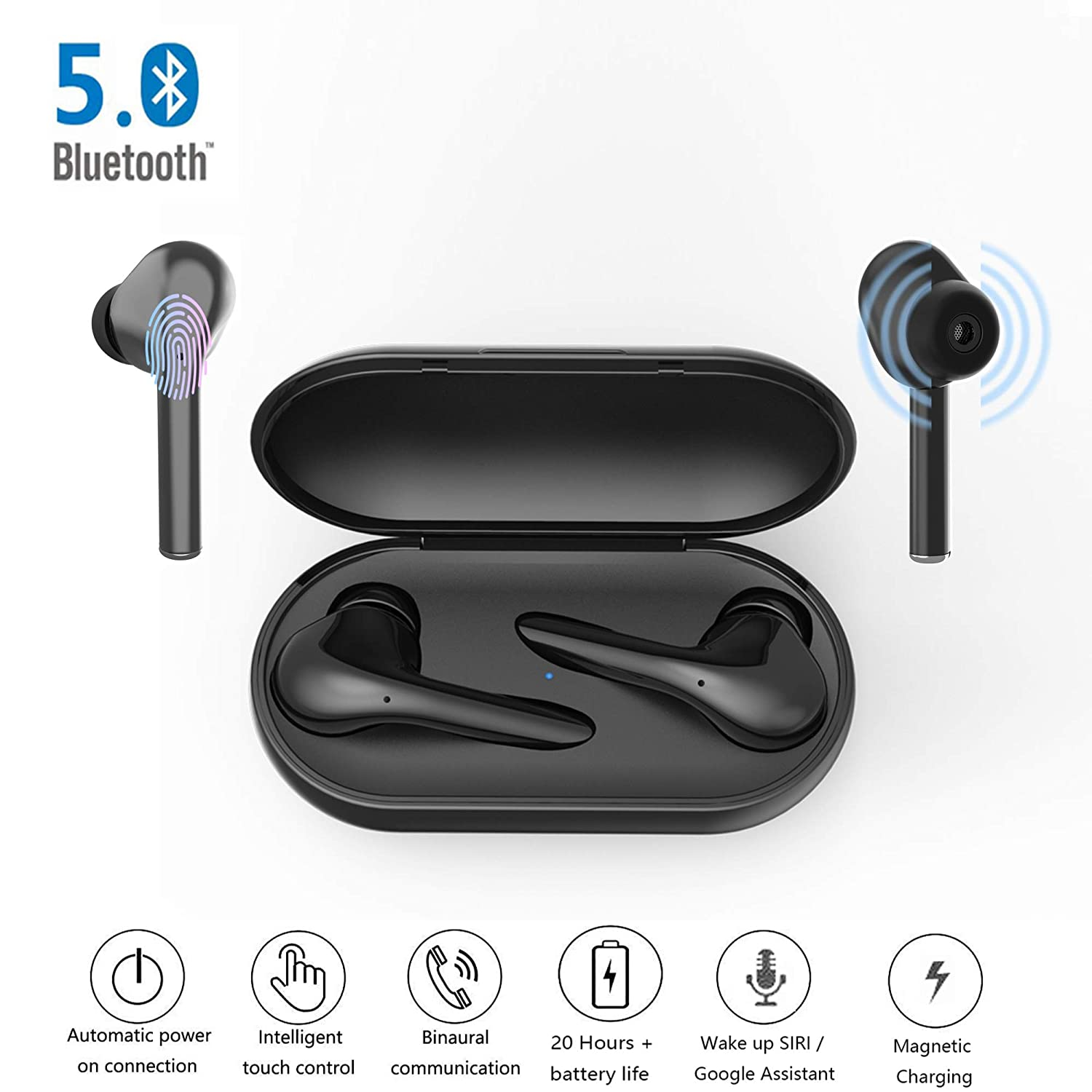 Bluetooth Headphones 5.0, Wireless Earphones 3D Stereo, in-Ear Earbuds, Handsfree Sport Headphones with Microphone and Portable Charging Case for All Smartphone Tablet