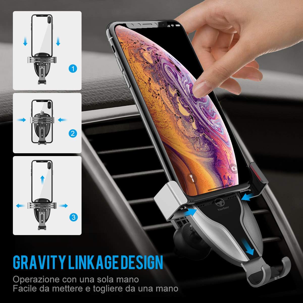Porta Cellulare da Auto Air Vent per iPhone X 8 7 8 Plus 7 Plus Smartphone Android e Altri Yarber Supporto Smartphone per Auto 360 Gradi di Rotazione Porta Cellulare da Auto