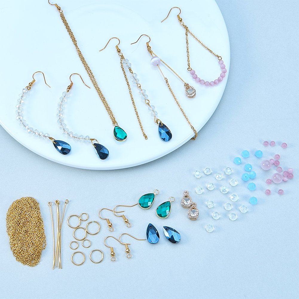 Golden SUNNYCLU 1 Set 216pcs Long Chain Tassel Faceted Gemstone Drop Teardrop Pendant Cat Eye Stone Dangle Earrings DIY Jewelry Making Starter Craft Kit for Women and Girls