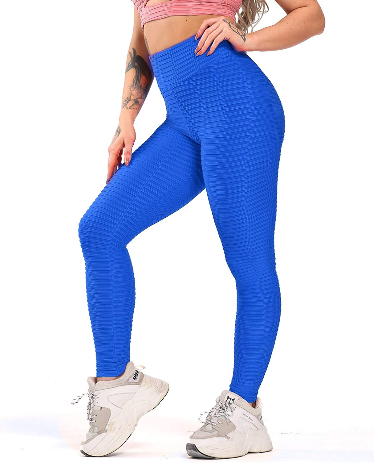 YOFIT Women Ruched Butt Yoga Pants Lifting Leggings High Waisted with Pockets Sport Tummy Control Gym